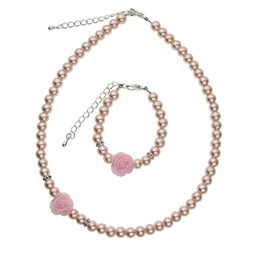 Girl Pink Simulated Pearls Flower Necklace with Bracelet Toddler Gift Set (GSTNB2-P_L) ()