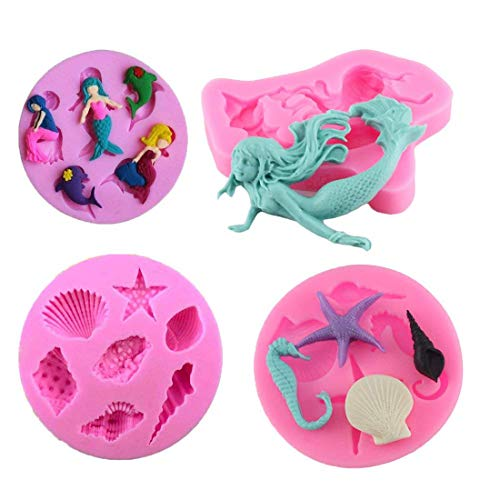 Mermaid Mold Mini Sea Shells Chocolate Candy Starfish Mold for Beach Theme Wedding Birthday Party Cake Decoration Cupcake Topper]()