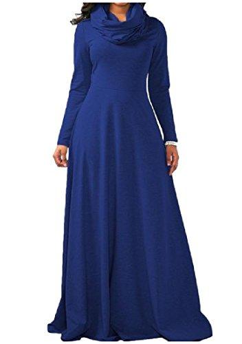 Coolred Anello Puro donne Del Blu Pavimento Vestito Collo Lunghezza Lunga Manica Colore Ad Ec8qA