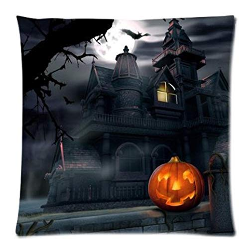 YOcheerful 6PC Halloween Throw Pillow Case Pumpkin Owl Skull Horror Print Cusion (D,45cm45cm)