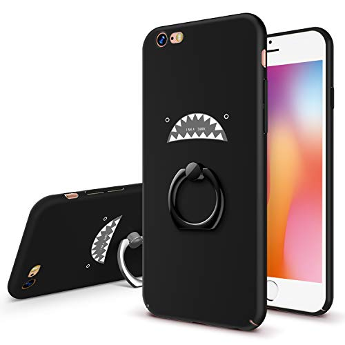 GVIEWIN Cute iPhone 6 Case iPhone 6s Case with Ring Stand, Hard Plastic Ultra-Thin & Rugged Anti-Fingerprints Matte Phone Case for Apple iPhone 6 / iPhone 6s (4.7 inch) - Shark/Black