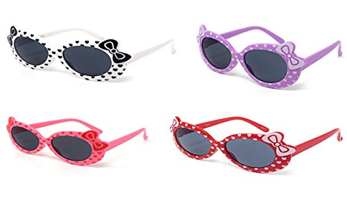 1 Purple 1 Red 1 Pink 1 White Coloured Childrens Kids Girls Stylish Cute Designer Style Sunglasses with a Bow and heart Style UV400 Sunglasses Shades UVA UVB - Uk Designer Vintage Sunglasses