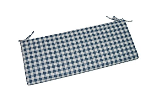 Navy Blue Plaid / Country Checkered / Checkerboard 2'' Thick Foam Swing / Bench / Glider Cushion with Ties and Zipper - Choose Size (36'' x 14'') by Resort Spa Home Decor