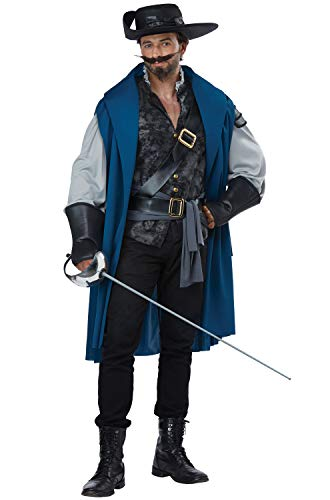 California Costumes Men's Deluxe Musketeer-Adult Costume, Black/Teal, Large/Extra Large
