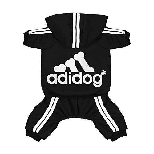 Scheppend Adidog Pet Clothes for Dog Cat Puppy Hoodies Coat Winter Sweatshirt Warm Sweater,Black Extra Large (Logo Tracksuit)