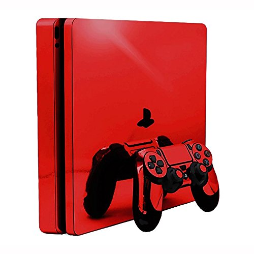 Red Chrome Mirror Vinyl Decal Faceplate Mod Skin Kit for Sony PlayStation 4 Slim (PS4S) Console by System Skins from System Skins