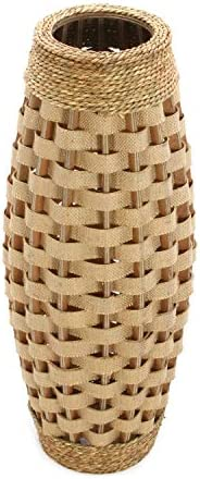 Hosley s 24 High Wood and Grass Floor Vase. Ideal Gift for Weddings, Home Decor, Long dried Floral, Spa, Aromatherapy, Umbrella Cane Stand O6