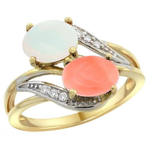14K Yellow Gold Diamond Opal & Coral 2-stone Ring Oval 8x6mm, size 6