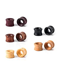 IPINK-10pcs Ear Gauges Vintage Organic Hollow Wood Saddle Double Flared Ear Tunnels Plugs 0g-3/4