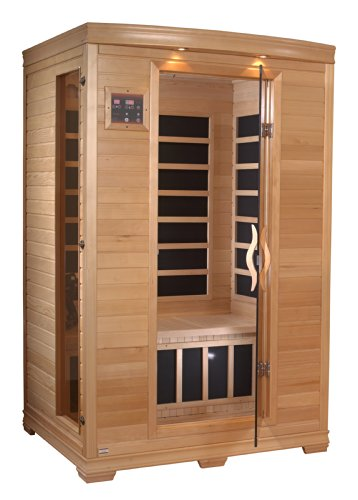 BetterLife BL6232 2 Person Carbon Infrared Sauna with ChromoTherapy Lighting, 48 by 42 by 77-Inch, Natural Hemlock Wood Finish
