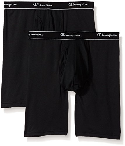 Champion Men's 2-Pack Tech Performance Longer Leg Boxer Brief, Black, Medium
