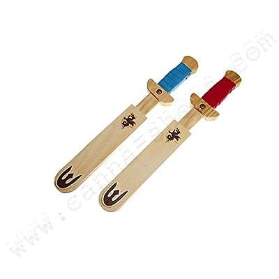 Épée en bois pour enfants 32cm avec fourreau - x2