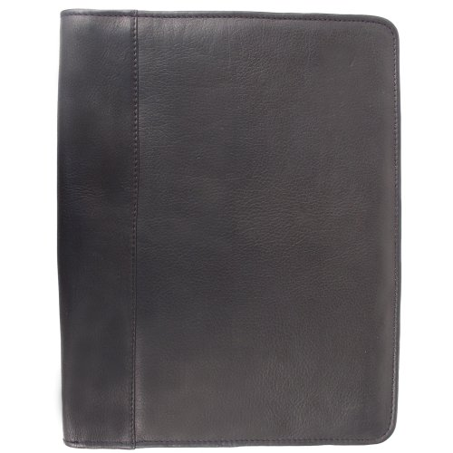 Piel Leather Zippered Padfolio, Black, One Size