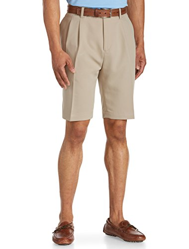 - Cutter & Buck Big and Tall Pleated Twill Microfiber Shorts (40 Long, Khaki)