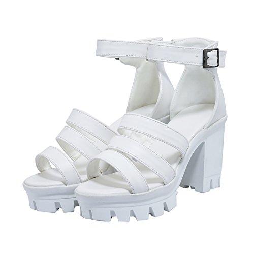 avec en Bout Confortables Femmes Mode Boucles UH Bloc avec Ouvert à et Plateforme Gladiateur Sandales Talons Blanc Haut SxZq0