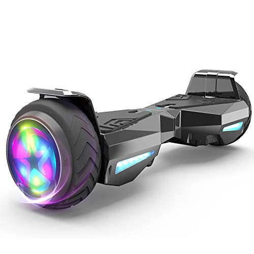 HOVERSTAR Hoverboard Certified HS2.0 Flash Wheel with LED Light Self Balancing Wheel Electric Scooter (Chrome Black)
