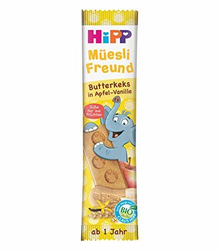 HiPP Bio Riegel Müesli-Freund Elefant Butterkeks in Apfel-Vanille, 24er Pack (24 x 20 g) DA31367