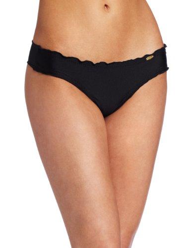 Luli Fama Women's Cosita Buena Wavey Ruched-Back Bottom,Black,Large