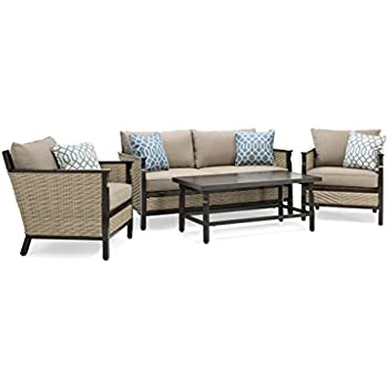 This Item La Z Boy Outdoor Colton 4 Piece Resin Wicker Patio Furniture  Conversation Set With Cast Shale Sunbrella Cushion (1 Patio Loveseat, 2  Lounge Chairs ...