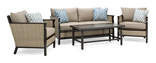 La-Z-Boy Outdoor Colton 4-Piece Resin Wicker Patio Furniture Conversation Set with Cast Shale Sunbrella Cushion (1 Patio Loveseat, 2 Lounge Chairs, Coffee Table) (Sunbrella Patio Set)