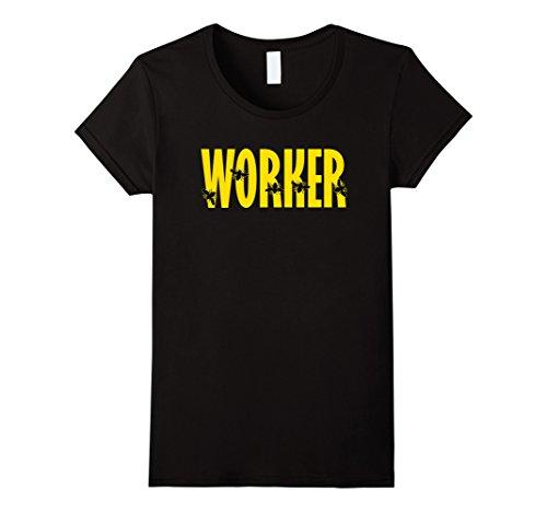Worker Bee Costume (Womens WORKER BEE Funny Bug Lover Beekeeper Halloween Costume Shirt XL Black)