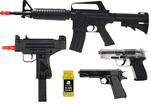 A&N Airsoft Pack of 5 Bundle Deal - Fully Automatic Airsoft Electric Rifle - 2XAirsoft Spring Pistol - Airsoft Spring Rifle- Pack of 200 BB