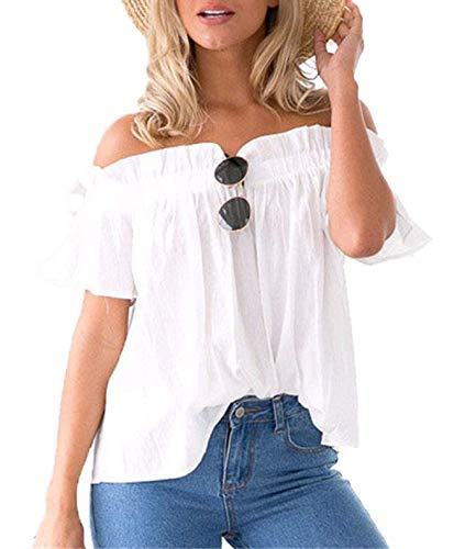Outdoor Spcial Femme Blouse Mode Blanc Chemisier Uni Casual Manche Plier Manches Bateau Elgante Encolure Style Loisir Mode Chemise paules Et Shirts Bouffant Courtes Nues Jeune qSBrFqOwW