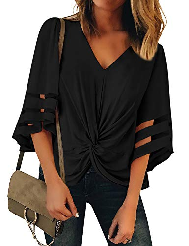Vetinee Women's Black Ruched Twist Tops 3/4 Bell Sleeve Shirt Mesh Panel V Neck Casual Loose Blouse XX-Large (US 18-20)