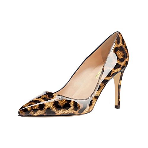 VOCOSI Women's Pointed Toe Pumps Slip-On Office Business High Heels Sexy Stiletto Shoes 8.5 cm Size 3-11 UK Leopard-patent ReUYN