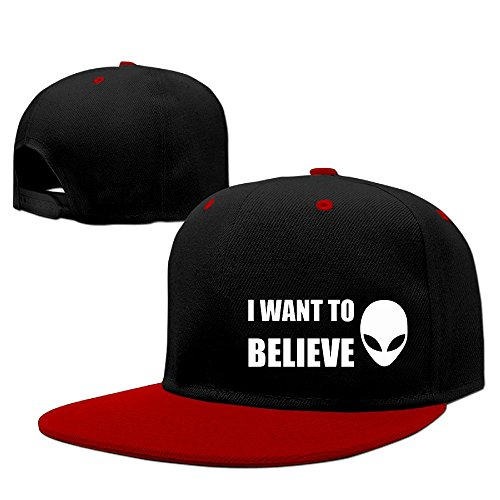 Price comparison product image PCY Unisex-Adult Two-toned I Want To Believe Baseball Hats Caps Red