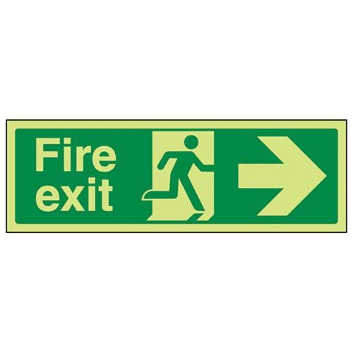 Rigid Plastic VSafety Glow In The Dark Fire Exit Arrow Right Sign 300mm x 100mm