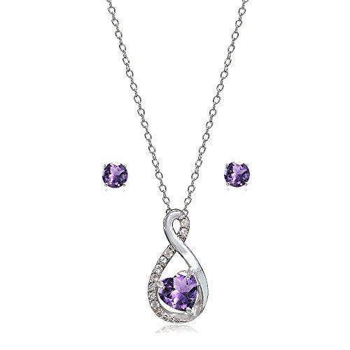 Lovve Sterling Silver Amethyst & White Topaz Infinity Heart Necklace Earrings -
