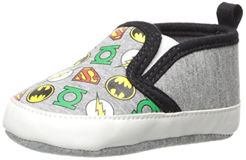 DC Comics Baby Boys Justice League Character Infant Shoes, Twin Gore Slip/Ons, 6-9 Months