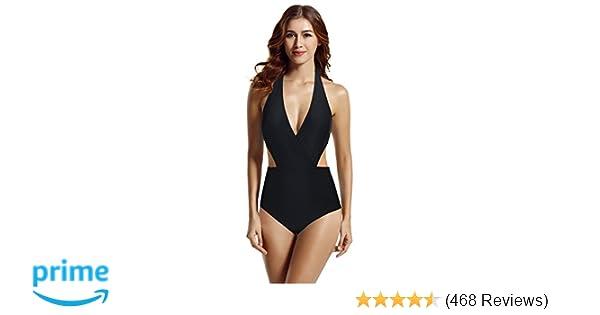 zeraca Women s Surplice Neckline High Waisted Halter One Piece Monokini  Swimsuit at Amazon Women s Clothing store  ac6d13568