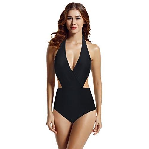 zeraca Womens Surplice Neckline High Waisted Halter One Piece Monokini Swimsuit