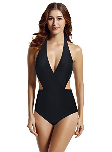 Crochet Deep Plunge Monokini - zeraca Women's Surplice Neckline High Waisted Halter One Piece Swimsuit Bathing Suit (Black, S6)