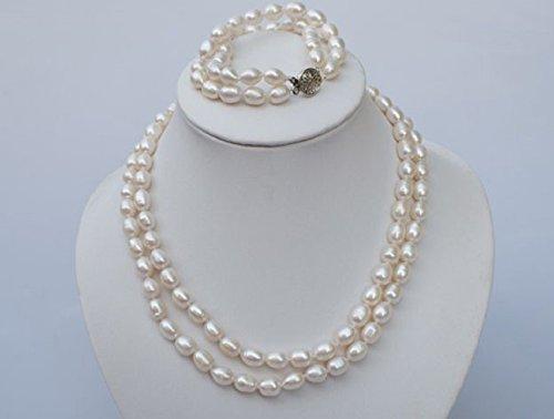 LORELYS-Cadeau d'amour Femmes Parure Le Charme De La Perles D'eau Douce Blanc et Argent Fin 925/1000, Collier, Bracelet