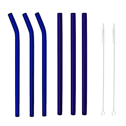(Hot Sale!UMFun Reusable Glass Smoothie Straws Drinking Straws for Milkshakes Frozen Drinks Glass Straw (Blue))