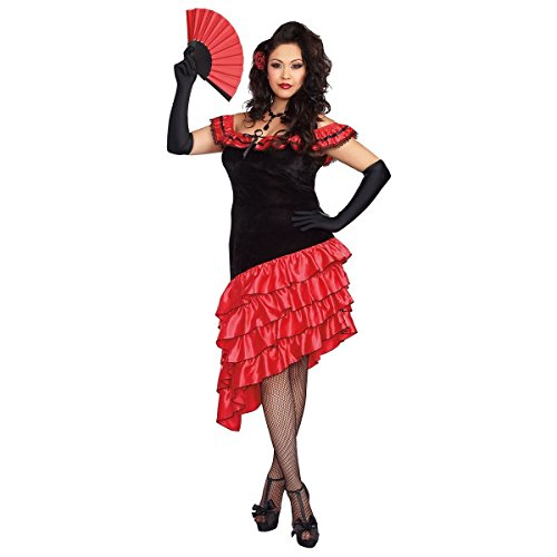 Dreamgirl Women's Plus-Size Spanish Dancer Costume, Black/Red, 1X/2X]()