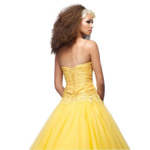 Ballkleid Applikationen Liebsten Gelb Tuell mit bodenlangen Perlen Gelb BRIDE Ballkleid GEORGE 6q7wHgzE4x