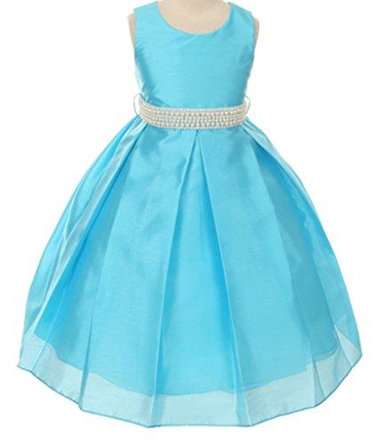 Silk Shantung Flower Girl Dresses - Little Girls' Sleeveless Silk Shantung Pearl Pageant Prom Flowers Girls Dresses Turquoise Size 2