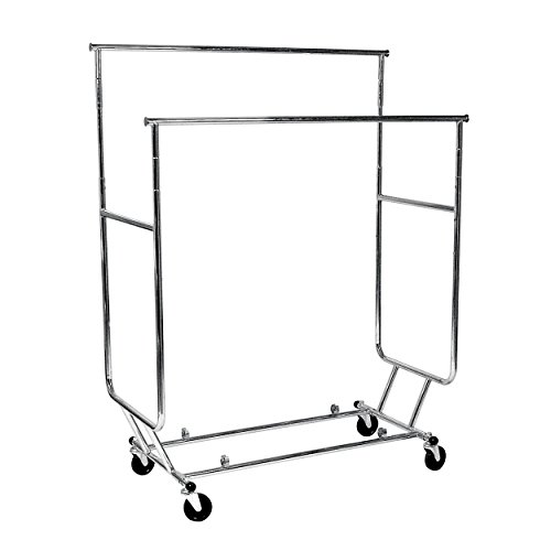 AMKO RCS/2-CH Collapsible Rolling Rack in Chrome Finish with Double Hangrail, Ball Bearing Casters. Heavy Duty Garment Rack, Commercial Grade Display Rack. Store Display Supplies ()