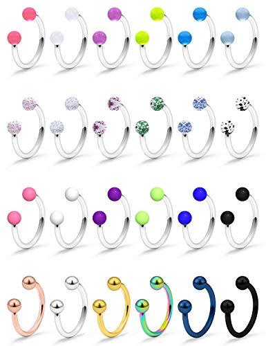 SCERRING 16G Septum Jewelry Clear Bioflex Stainless Steel Horseshoe Nose Hoop Rings Eyebrow Lip Earring Tragus Barbells…