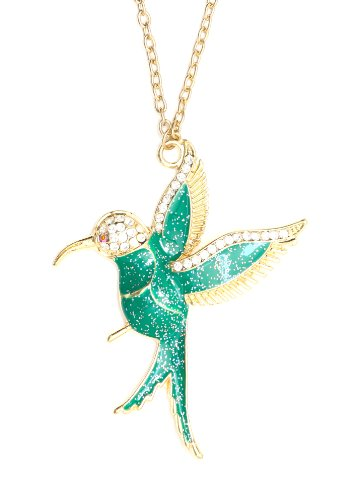 Magic Metal Hummingbird Necklace Tropical Bird Green Glitter Gold Tone NM12 Pendant Fashion Jewelry