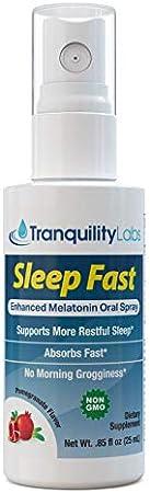 Tranquility Labs' Sleep Fast Oral Melatonin Spray, 32 Doses, Enhanced with Valerian Root, Lemon Balm, Chamomile, B6 Calming Blend, Pomegranate Flavor… (25ml)