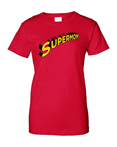 Supermom Super Hero Mom Mommy Mother Day Funny Humor Pun Adult Women's Graphic Tee T-Shirt Apparel (Red, Women's XX-Large) ()