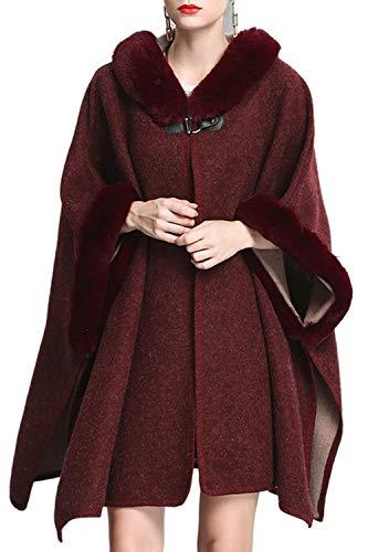 Larga Casual Outwear Elegante Vestido Capa Estolas De Pieles Espesar Fiesta Modernas Caliente Manga Con Mujer Rojo Invierno Chal vnO18qSAq