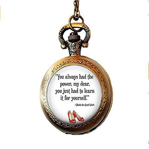 (You Always Had The Power Pocket Watch Necklace, Wizard of Oz Jewelry, Wizard of Oz Pocket Watch Necklace, Quote Jewelry)