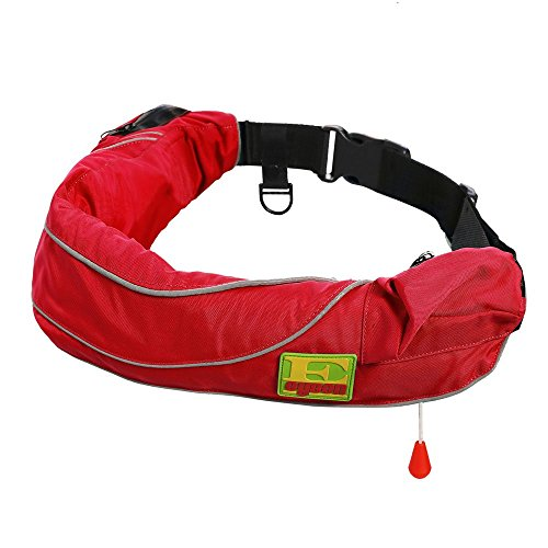 Premium Quality Automatic / Manual Inflatable Belt Pack PFD Waist Inflate Life Jacket Lifejacket Vest SUP Survival Aid Lifesaving PFD with Zippered Storage Pocket for Adult Red Color