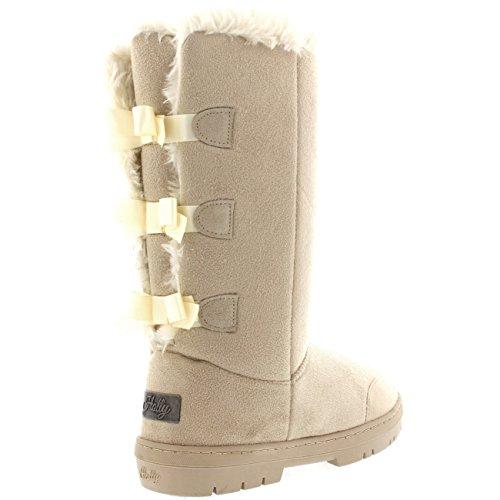 Womens Bow Tall Waterproof Snow Boots Classic Rain Triplet Beige Winter 5ZI5qr